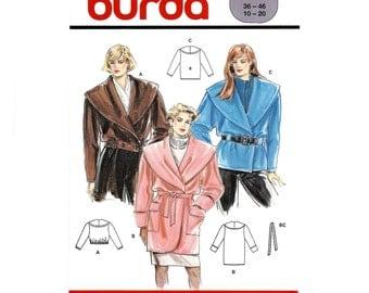 "Early 1980s Shawl Collar Robe Style Coat, Jacket or Cropped Jacket,  Long Sleeves, Cuff Option, Burda 5000, Sz 10-20, Bust 33""-41""/Eur 36-46"