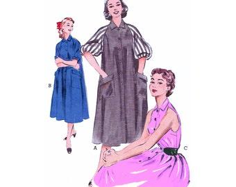 "1953 Shoulder Baring Tent Dress, Morning Dress, Turn-back Cuffs or Full Gathered Raglan Sleeves, Collar, Hip Pockets Butterick 6748 Bust 34"""