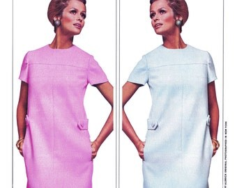 "1967 Designer Larry Aldrich, Mod Yoked Panel Seam Dress, Jewel Neckline, Short Sleeve, Pockets, Tab Detail, McCall's N/1018, Bust 34"" Unused"