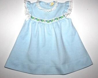RETRO BABY DRESS - Pale Blue - Boho Chic - Floral Ribbon