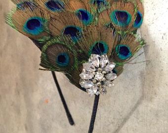 Peacock Headband- Peacock Feather Fascinator- Feather Peacock- Headdress- 1920s- Gatsby Headband- Handmade- Headpiece- Headdress NY-
