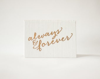 Gold Foil - Always and Forever - Silk Folio Keepsake - Wedding Vow Book