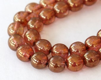 Transparent Rose Gold Topaz Luster Czech Glass Beads, 10mm Round - 25 pcs - e65491-10r