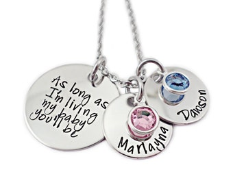Personalized As Long As I'm Living My Baby You'll Be Necklace - Engraved Jewelry - Mom Jewelry - Mommy Necklace - Name Necklace - Stones