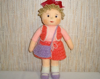 OOAK Hand Knit Doll in Red Dress with Handbag