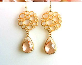 Peach Earrings, Champagne Gold Wedding Earrings, Drop Dangle Glass Earrings, bridesmaid gifts,christmas gift, Gemstone, Bridal Earrings