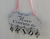Double Sided Here Comes the Bride Ring Bearer and Flower Girl Wedding Sign for the Bride and Groom and they Lived Happily Ever After