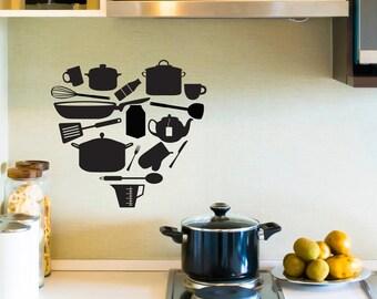Kitchen Items Heart -  Wall Decal Custom Vinyl Art Stickers