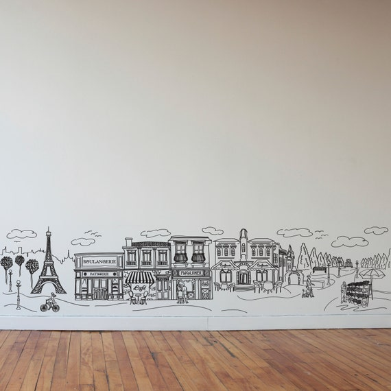 Impressive Doodle Paris Wall Decal Art by DanaDecals