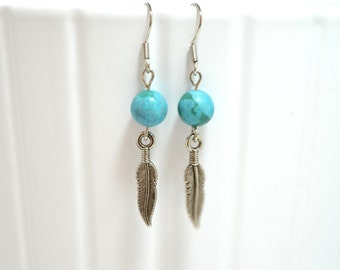 Blue Stone Bead Earrings with Silver Feather Charms