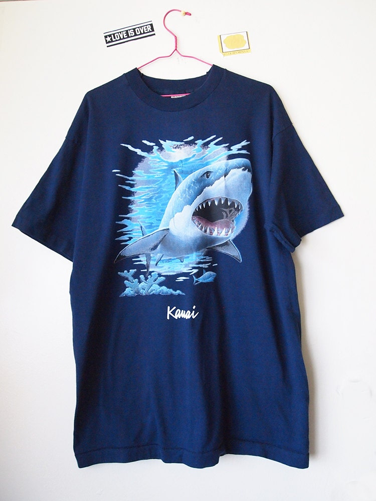 Vintage 90s Great White Shark Shirt 1990s Tshirt By Loveisover