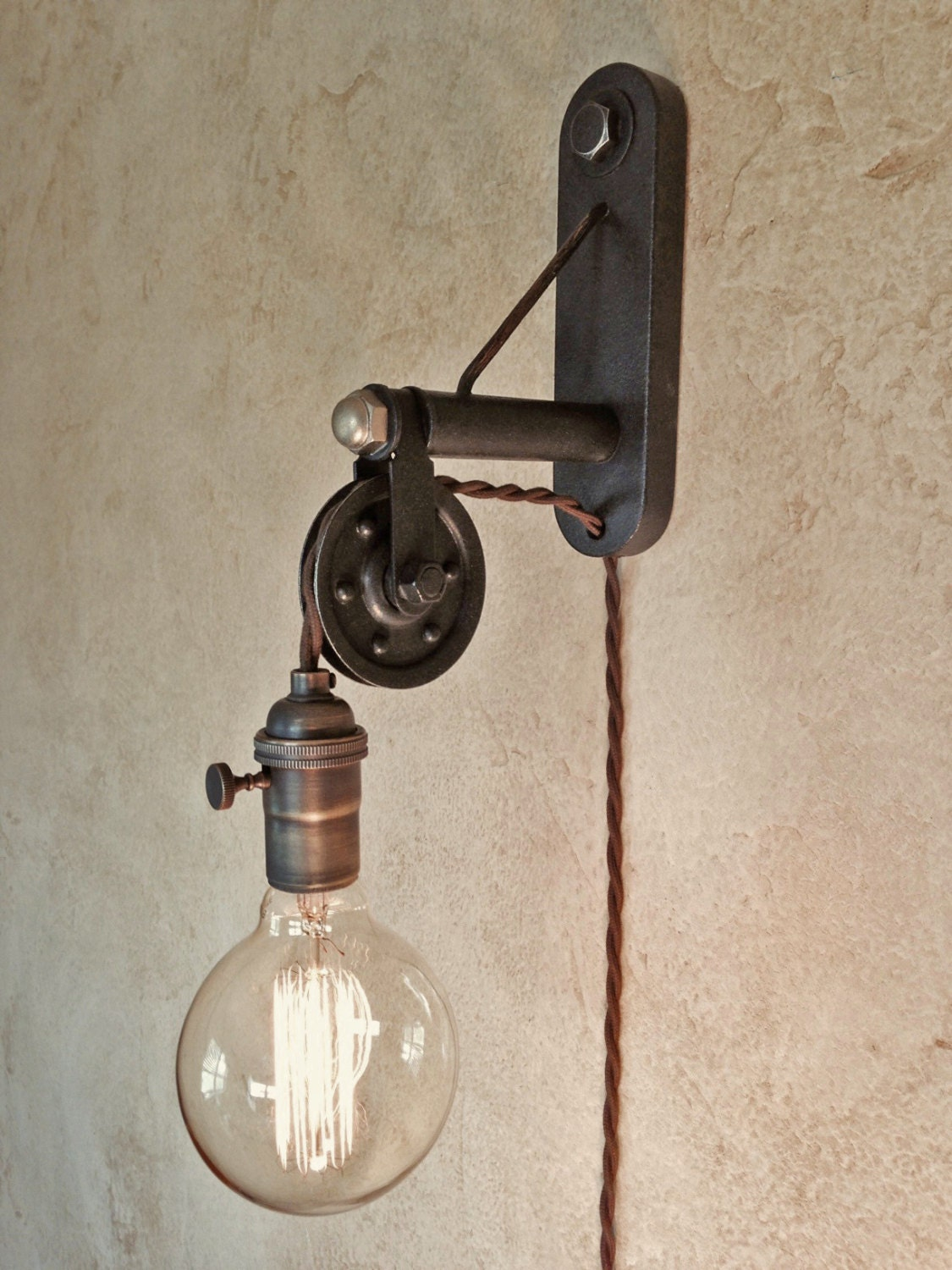 Industrial Pulley Sconce Lamp Plug In By Ironcladindustrial