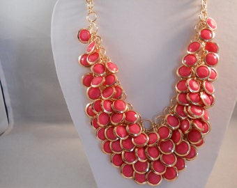 4 Strand Deep Pink Bib Necklace on a Gold Tone Chain
