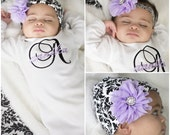 Newborn Girl Take Home Outfit Monogram Baby Gown Damask Lavender Personalized Layette Add Headband or Beanie Hat Options New Baby Gift Set