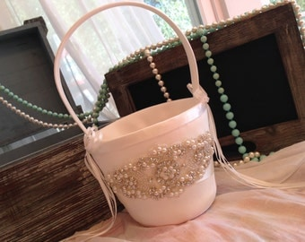 Sale-YOU CHOOSE COLOR-Flower Girl Basket-Ivory-White-Set-Flower Girl-Wedding-Bridal-Accessories-Aqua-Robbins Egg-Gray-Grey-Blue-Pink