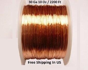 COPPER  WIRE  30ga  10 oz  2200 feet  half hard solid bright copper wire