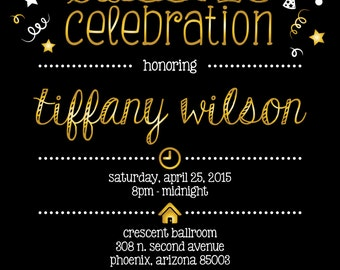 Gold Metallic, Black and White Sweet 16 Invitation