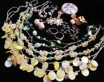 Vintage Jewelry Lot Destash Earrings Flapper Mother of Pearl Rings Pill Box Necklaces Repair Wear Upcycle Resell