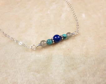 Turquoise - Lapis - Labradorite Necklace - Sterling Silver Necklace - 14k Gold Fill Necklace