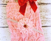 Valentine's Day Outfit - CHECK Size STOCK! Valentine's Day Headband Kit - Baby Girl Lace Petti Romper & DIY Headband Kit - Baby Pink Romper