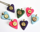Clay Heart and Bullet Necklace, Spent Bullet Casing Jewelry, 40 and 45 Ammo Necklace, 2nd Amendment Pendant, Gun Shooting Enthusiast Gift