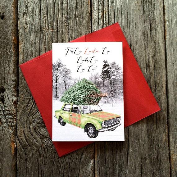 "Holiday Card - Lada Car with Pine Tree on Roof  ""Fa La La"""