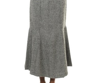 1980s Vintage Grey High-waisted Ankle Length Skirt  Size: S/M