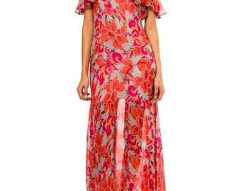 1930 Vintage Tropical Silk Mousseline Gown  Sizes: XS/S/M
