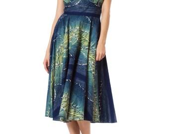 1950s Vintage Glamorous Blue Green Tropical Print Halter Dress Size: S/M
