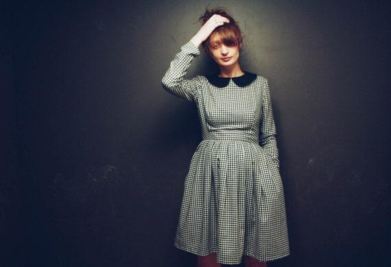 black and white gingham dress black peter pan collar women. Black Bedroom Furniture Sets. Home Design Ideas