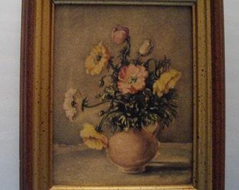 Vintage floral lithograph, still life flowers wall decor, framed textured print, home decor art print flowers