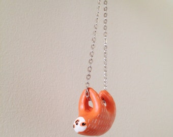 Sloth Necklace Orange.  with Hand Sculpted and Painted Polymer Clay Pendant
