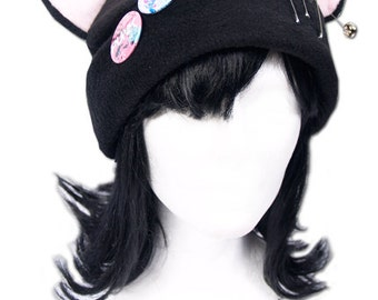 Cat Kitty Fleece Hat  Anime Cosplay Punk JRock (Pink Ears)