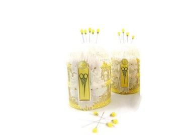 Pincushion, Yellow and White, Scissors, Sewing theme, Needlecraft, straight pins
