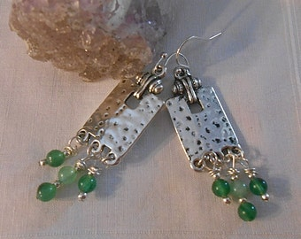Green Jade Chandelier Earrings Neo Classic Design Everyday Wear Dangle Tibetan Silver Hammered Door Knocker Metal   Gift