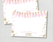 instant digital download - sparkle and shine  pink and gold flat thank you note