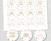 SPARKLE AND SHINE cupcake topper or favor tag pink gold glitter sparkle 1st birthday favor circle instant digital download diy digital file