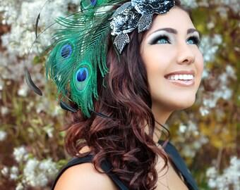 Gunmetal Grey & Peacock Burlesque style fascinator