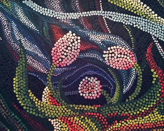 Aboriginal Dot Art - Tulips - Original Acrylic Painting on Black Paper