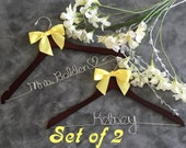 20% OFF SALE TWO Wedding Hangers / personalized / natural finish / cherry finish / wire hanger/ personalized / bridal party