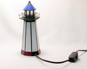 Stained Glass Lighthouse Light - Nautical Vintage Home Decor