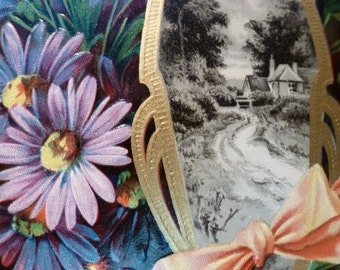 Art Nouveau  country scene tied with ribbons and asters. 1908 Postmark.