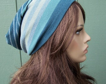 BLUE striped beanie slouchy beanie recycled sweater upcycled eco accessories one of a kind OOAK UNISEX