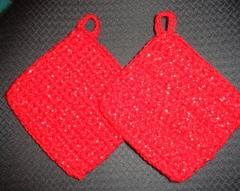 Red and Silver Crocheted Potholder Pair