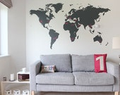 World map wall decal - Wall Decal Large World Map For Men 7 x 4ft