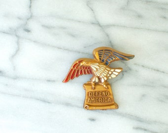 WWII Patriotic DEFEND AMERICA Celluloid Eagle Pin 1940s Vintage