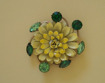 Yellow Enamel Flower Pin with Green Rhinestones 1950s Vintage