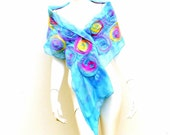 Blue Silk Wrap Nuno Felted Pastel Rainbow Circles