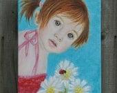 Original 9 x 12 Child Angel Fine Art Angel Print, Inspirational, Children's Decor, Nursery room, Sea Foam, Turquoise, Earth Angel, Ladybug