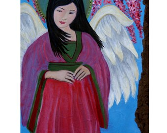 Original Fine Art 8 by 12 print Asian Angel, Child's Room Wall Art, pink, Girl's Room, Cherry Tree, Guardian angel, Child portrait, Angel